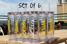 Cute personalized tumblers from Etsy for each bridesmaid!! We love the subheading to describe each maid's relationship to the bride. So thoughtful!