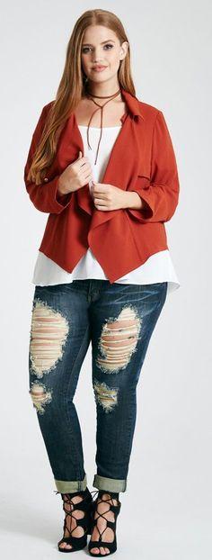 57d44e3ef41 Plus Size Cascading Open Blazer Plus Size Fashion For Women