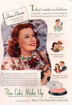 Irene Dunne for Maybelline Pan-Cake Make-Up, 1945. #vintage #1940s #makeup #cosmetics #ads