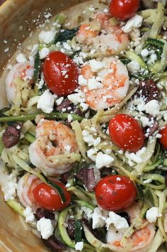 "Mediterranean Zoodles with Shrimp | ""This low-carb pasta alternative gets topped with shrimp, olives, tomatoes, and feta for a healthy and quick meal. Take care not to overcook the zucchini noodles to prevent them from becoming mushy."" #healthyrecipes #healthycookingideas #dietrecipes #healthyfoods #lightrecipes #weightlossrecipes #weightlossfood Healthy Pasta Recipes, Healthy Cooking, Seafood Recipes, Chicken Recipes, Healthy Eating, Fish Recipes, Healthy Foods, Top Recipes, Low Carb Recipes"