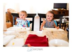A photo of my baby girl and her bestie who just turned one.   Both babies eating pancakes.