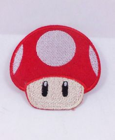 RED SUPER MARIO BRO MUSHROOM ANIME FUN PUNK ROCKABILLY IRON ON PATCH #Embroidered