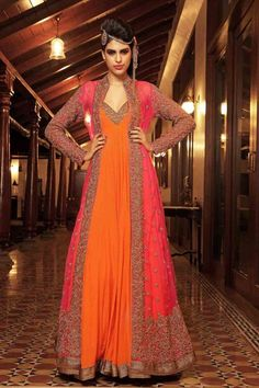 Pink and orange designer anarkali with silver embroidery.
