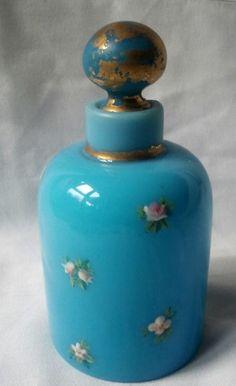 Antique French Blue Opaline Enamelled Perfume Bottle | eBay: