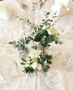 #novarese#vressetrose#wedding #white #banqet #natural#flower #bridal#guesttable #ノバレーゼ# ブレスエットロゼ #ウエディング# ホワイト#グリーン#バンケット# ゲストテーブル# ナチュラル#スタイリッシュ# ブライダル#結婚式#ユーカリ Bridal Table, Wedding Table Decorations, When You Love, Table Flowers, Pretty Little, Wedding Flowers, Reception, Elegant, Green