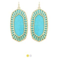 Kendra Scott Delilah earrings! These Kendra Scott Delilah earrings are to die for!! The turquoise color pops and the gold caged lining makes them one of a kind. These are sold out online!! Only worn a few times, they are in perfect condition. Kendra Scott Jewelry Earrings