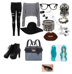 """""""Blue hair. Don't care."""" by katblanco on Polyvore featuring Miss Selfridge, Boohoo, Mulberry, Monki, Alexander McQueen, Werkstatt:München, Mudd, Lime Crime and LORAC"""