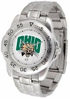 Ohio Bobcats Sport Steel Band Men's Watch by SunTime. $54.95. Men. Officially Licensed Ohio University OU Bobcats Men's Stainless Steel Logo Watch. Calendar Function With Rotating Bezel. Links Make Watch Adjustable. Stainless Steel-Scratch Resistant Crystal. This handsome, eye-catching watch comes with a stainless steel link bracelet. A date calendar function plus a rotating bezel/timer circles the scratch resistant crystal. Sport the bold, colorful, high quality NCAA ...