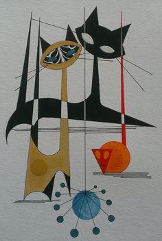 Mid century cat design