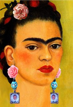 Each Frida earring has a coral rose and and a simulated turquoise skull with piercing crystal eyes. Tibetan silver mini frame has a famous frida kahlo portrait and crystal accent. Each frame is backed by a brass leaf, just for arts sake. Be Bold Mujer Bonita! Xochitluna on etsy.