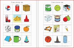 Elena Medina nos envía unas fichas que tienen como objetivo identificar cuerpos geométricos(prisma,pirámide,cilindro, cono y esfera) en objetos cotidianos. Estará colgado en matemáticas 1º y