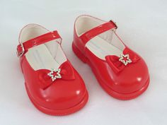 Red Patent Diamante Star & Bow Shoes by Early Days H720 Wedding Special Occasion