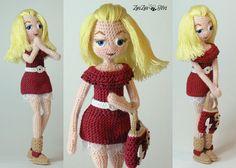 Купить Кукла интерьерная_Кокетка - бордовый, кукла ручной работы, интерьерная кукла, вязаная игрушка