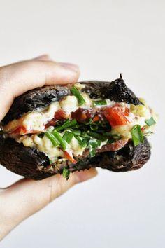 This Rawsome Vegan Life: portobello mushroom cashew cheese burgers - will definitely make these with hummus and extra veggies. Raw Vegan Recipes, Vegetarian Recipes, Healthy Recipes, Paleo, Raw Vegan Dinners, Vegetarian Barbecue, Barbecue Recipes, Vegetarian Cooking, Vegan Foods
