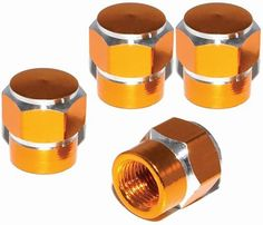 """Amazon.com : (4 Count) Cool and Custom """"Short Two Tone Hexagon with Easy Grip Shape"""" Tire Wheel Rim Air Valve Stem Dust Cap Seal Made of Genuine Anodized Aluminum Metal {Deep Toyota Gold and Silver Colors - Hard Metal Internal Threads for Easy Application - Rust Proof - Fits For Most Cars, Trucks, SUV, RV, ATV, UTV, Motorcycle, Bicycles} : Sports & Outdoors"""