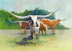 Texas longhorn art print of original watercolor cow painting, longhorn painting, longhorn cattle art western, cattle art, farm animal, ranch