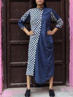 Indigo Cowl Shirt Dress