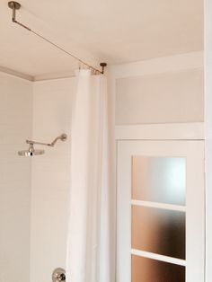 Alternative for standard shower rod /  Ikea stainless curtain fitting used for minimalist shower curtain... curtain extended to floor length  @brenbradstreet | DIGNITETCurtain wire, stainless steel