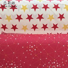 100% cotton nordic wind red stars constellation twill cloth DIY for kids bedding sheet clothes handwork patchwork fabric tissue #Affiliate