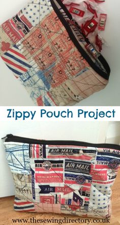 Sew a simple zippy pouch with patchwork squares and quilting techniques - free tutorial Reusable Lunch Bags, Zipper Pouch, Squares, Sewing Projects, Quilting, Simple, Free, Scrappy Quilts, Bobs