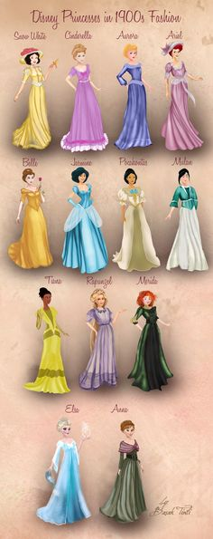 Disney Princesses in 1900s Fashion by BasakTinli