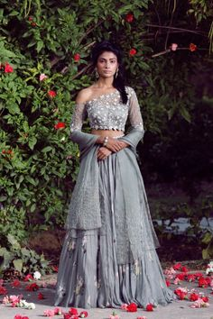 By Designer Mahima Mahajan, This Set Features A Olive One-Off Shoulder Heavy Embellished Blouse, Georgette Printed Lehenga And Organza Dupatta Set. Netsleeve Type: One-Off Shouldercare: Dry Clean Only Indian Lehenga, Indian Gowns, Indian Wear, Indian Wedding Outfits, Indian Outfits, Pakistani Outfits, Indian Clothes, Lehenga Modern, Off Shoulder Lehenga