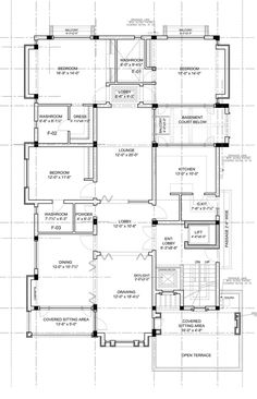 The Courtyard House Bungalow Floor Plans, Home Design Floor Plans, Duplex House Plans, House Layout Plans, Home Building Design, Bungalow House Design, Bedroom House Plans, House Floor Plans, Courtyard House Plans