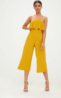 fbd62f53feb PrettyLittleThing Mustard Bardot Culotte Jumpsuit Size UK 10 rrp 20 DH181  TT 10  fashion