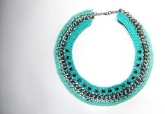 Crochet chain necklace in turquoise with metal studs by Beh1ndByMK, €42.00