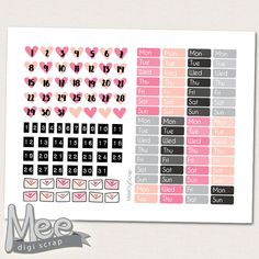 Hello love pink Date cover planner stickers PRINTABLE,Valentine day  printable stickers,February planner stickers,Valentines date cover ups by MeeDigiScrap on Etsy