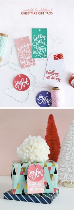 DIY Gift Wrapping Ideas hand lettered free printable christmas gift tags - these are so cute All Things Christmas, Christmas Time, Christmas Decor, Christmas Ornaments, Holiday Decor, Craft Gifts, Diy Gifts, Free Printable Christmas Gift Tags, Perler Beads