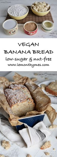Vegan Banana Bread - it's absolutely delicious (moist and tender!), quick and easy to prepare, and only requires 5 simple ingredients (bananas, flour, brown sugar, coconut oil, coconut milk). QUICK AND EASY | lemonthymes.com