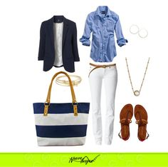 #Outfit Adquiere esta bolsa ligera y práctica AQUÍ http://www.distribuidoranuevaimagen.com/catalogo/tienda-en-linea/bolsos-oro/amaya-sof-raya-blanco-marino-detail :)