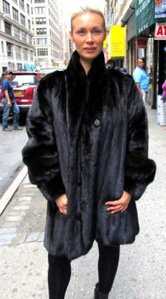 Pre-Owned Black Suede Coat w/ Black Dyed Mink Trim Striking black ...
