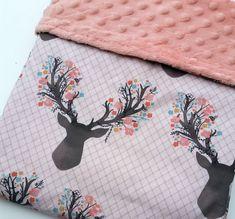 Baby Blanket - Minky Baby Blanket - Deer Baby Bedding - Antler Blanket - Pink Minky Blanket - Baby Shower Gift - Woodland Blanket by KadydidDesigns on Etsy https://www.etsy.com/listing/262824421/baby-blanket-minky-baby-blanket-deer