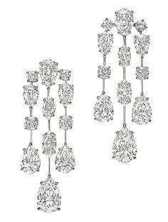 Harry Winston Mrs Winston Diamond Cascading Drop Earrings
