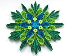 Snowflake Green Blue Christmas Tree Decoration Winter Ornaments Gifts Toppers Fillers Office Corporate Paper Quilling Quilled Handmade Art