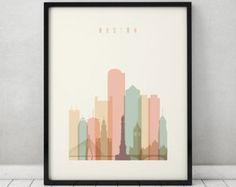 Boston art print, Poster, Wall art, Boston Massachusetts skyline, City poster, Typography art, Home Decor, Digital Print, ArtPrintsVicky