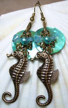 Beach Earrings, Seahorse, Antique Brass by Fanceethat on Etsy, $24.00