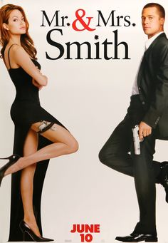 """Film: Mr. and Mrs. Smith (2005) Year poster printed: 2005 Country: USA Size: 27""""x 40"""" This is a vintage, """"teaser"""" one-sheet movie poster from 2005 for Mr. and Mrs. Smith starring Brad Pitt, Angelina J"""