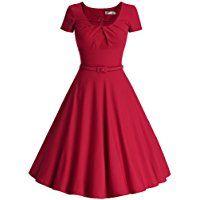 MUXXN Women's 1950s Vintage Short Sleeve Pleated Swing Cocktail Dress