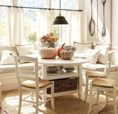 cafe curtains & bench seating. Kitchen nook. #dining