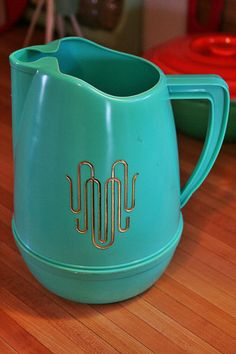 Great turquoise & gold Lustro Ware Pitcher