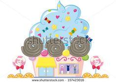 cupcake clothes shop - stock vector