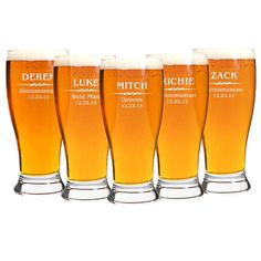 Groomsmen Gift 6 Personalized Beer Glasses by EverythingDecorated, $59.94 Sister Wedding, Our Wedding, Dream Wedding, Wedding Ideas, Wedding Favors, Wedding Gifts, Wedding Decorations, Personalized Beer Glasses, Beer Caddy