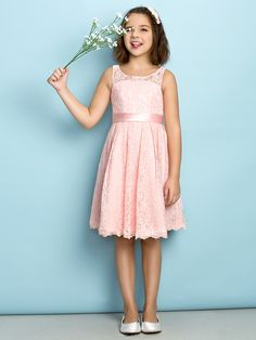 Lanting Bride® Knee-length Lace Junior Bridesmaid Dress - Mini Me A-line Scoop with Lace - USD $59.99 ! HOT Product! A hot product at an incredible low price is now on sale! Come check it out along with other items like this. Get great discounts, earn Rewards and much more each time you shop with us!