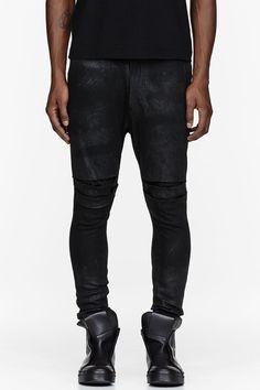 JULIUS Black Stretch Denim Coated Jeans