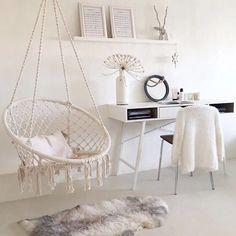 Dakota Fields Dutra Macrame Chair Hammock, Cotton in Beige, Size 47