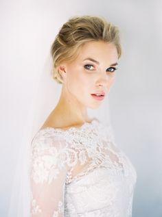 Elegant Victoria's Secret Bridals - Real Weddings - Once Wed Natural Wedding Makeup, Wedding Hair And Makeup, Hair Makeup, Lace Weddings, Real Weddings, Wedding Dresses, Monique Lhuillier, Once Wed, Bridal Session