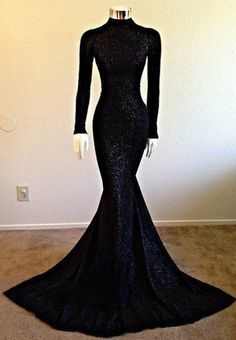 Modest Long-Sleeve Black High-Neck Mermaid Prom Dress